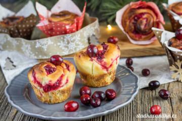 Muffinoví šneci s brusinkami